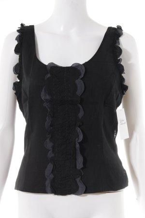 Miu Miu Kurzarm-Bluse dunkelblau-schwarz Casual-Look