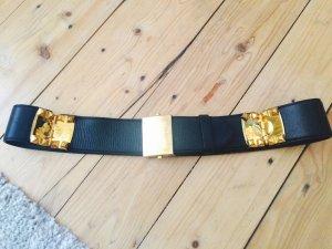 Miu Miu Lamm Ledergürtel, schwarz/gold