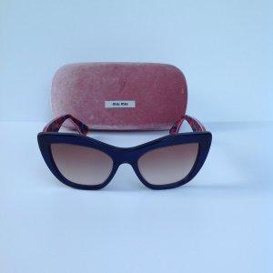 Miu Miu Gafas de sol ovaladas azul oscuro-rojo oscuro Material sintético