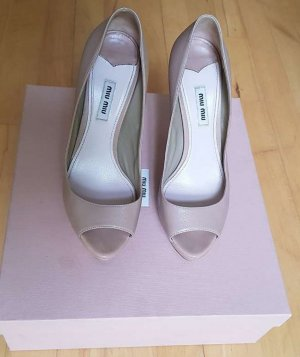 Miu Miu Peep Toe Pumps nude