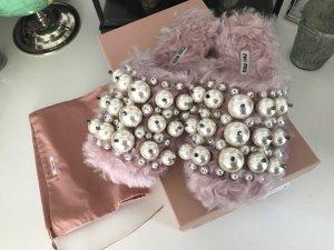 Miu Miu Perlen Slipper Schuhe rosa Eco Fell 38 neu