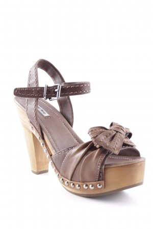 Miu Miu Platform High-Heeled Sandal light brown-brown beach look