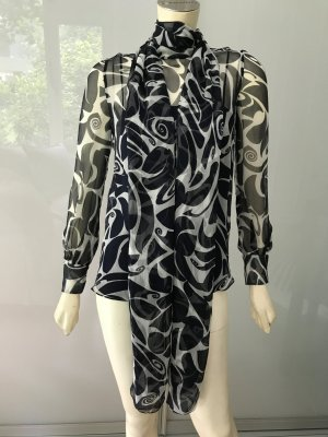 Miu Miu Prada Schluppen Bluse Schwarz Weiß 34 Chiffon Top Blouse Black White XS