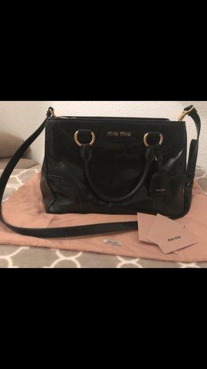 Miu Miu Carry Bag black-gold-colored leather