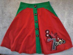 Miu Miu Falda midi rojo amarronado-verde oscuro tejido mezclado