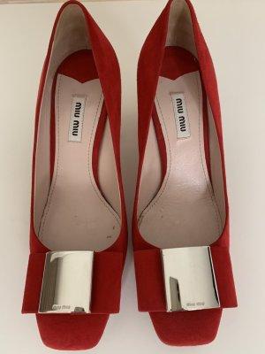 Miu Miu Backless Pumps red leather