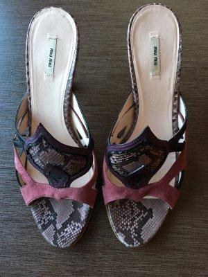 MIU MIU PUMPS Sandalette Schlangenoptik Leder/Velour 38  - NP 300€