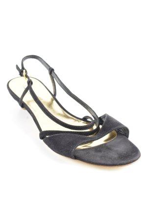 Miu Miu Sandalias de tacón de tiras negro-color oro elegante