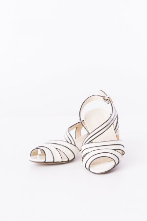 Miu Miu Strapped High-Heeled Sandals white leather