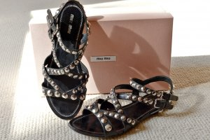 Miu Miu Roman Sandals black-silver-colored leather