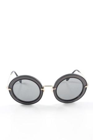 Miu Miu Occhiale da sole rotondo nero-grigio Stile anni '80