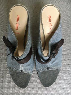 Miu Miu Sandalo outdoor azzurro Lino