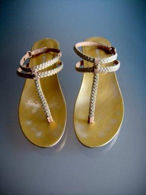 Miu Miu Sandalen Sandaletten Leder Riemchen Gold Gr. 37-38