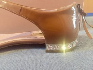 Miu Miu Sandalen Schuhe Lack camel beige creme Größe 37,5