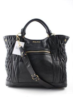Miu Miu Shopper schwarz-goldfarben Steppmuster Elegant