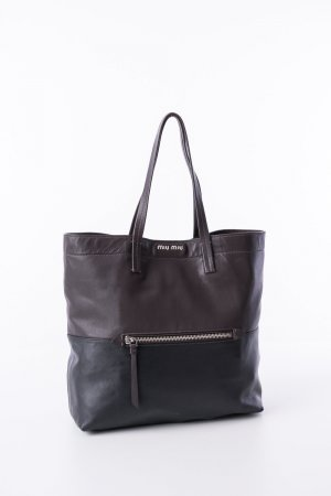 MIU MIU - Shopper Vitello Soft Ebano und Nero