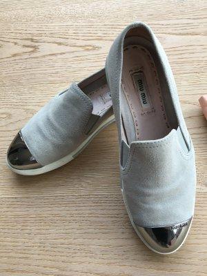 Miu Miu Sneaker slip-on grigio chiaro Pelle