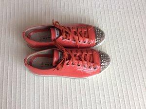 Miu Miu Sneakers ,Farbe koralle mit Silbernieten, Gr.36