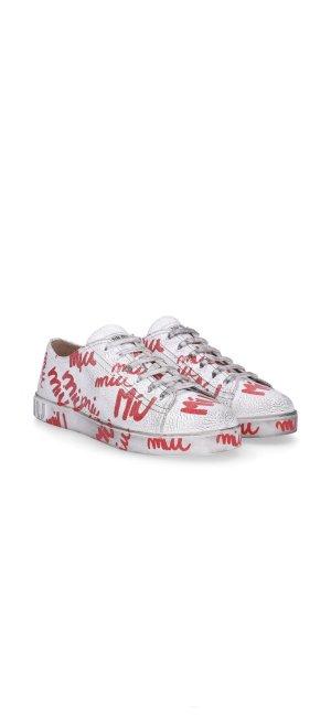 Miu Miu Sneaker stringata bianco-rosso scuro