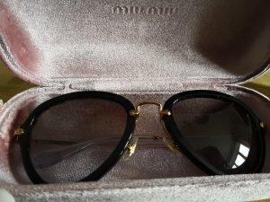 Miu Miu Sonnenbrille Aviator Schwarz Gold