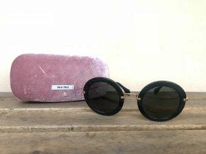 Miu Miu Sonnenbrille Rund Schwarz Gold mit Samt Etui Blogger MU 13NS