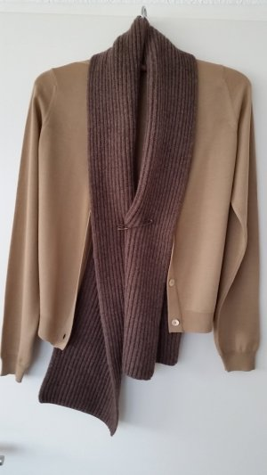 MIU MIU Strickjacke Gr. IT 44/DE 38 braun mit Schal Cardigan 100% Wolle wie NEU