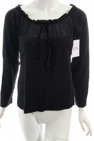 Miu Miu Strickshirt schwarz Materialmix-Look