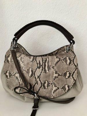 MIU MIU Tasche Beige Braun Python Leder Leinen Schulterriemen Medium Size Bag