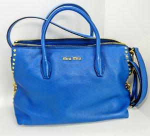 Miu Miu Tasche Madras kobaltblau