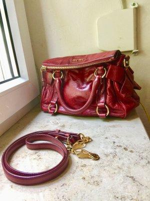 miu miu Tasche Vitello Lux Bow Bag Mini Leder mit Schleifen rot