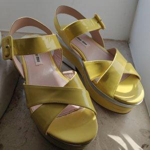 Miu Miu Wedge Pumps silver-colored-yellow leather
