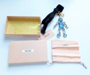 Miu Miu Trick Metallo Metal Crystal man Charm Key Schlüsselanhänger