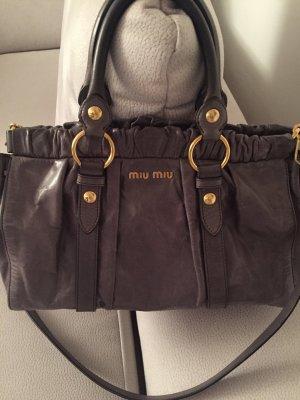 Miu Miu Vitello Lux Bag, dunkelgrau & goldfarbene Hardware *Klassiker*