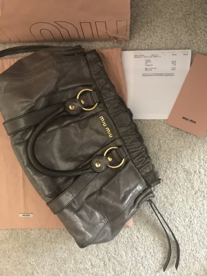 Miu Miu Carry Bag dark grey-gold-colored leather