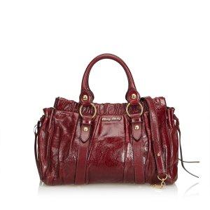 Miu Miu Vitello Luxe Ruched Leather Tote