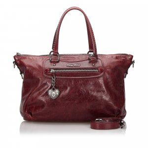 Miu Miu Satchel brown red leather