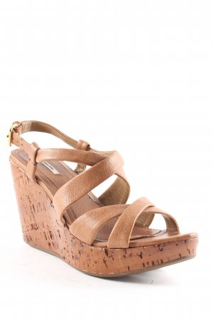 Miu Miu Wedges Sandaletten cognac Beach-Look