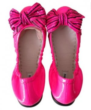 MIU MUI by Prada Ballerinas 36 Rosa Schwarz Lackleder Pink Slipper Flats TOP