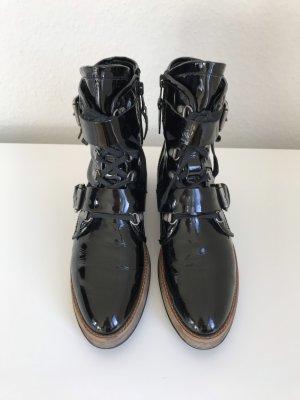 Mjus Biker Stiefeletten Boots Lackleder Leder Schwarz mit Schnallen Gr. 39 - nur einmal getragen!