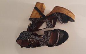 MJus Sandalen / Sandaletten - Vintage look, Holz Kork Optik, Blockabsatz, Plateau
