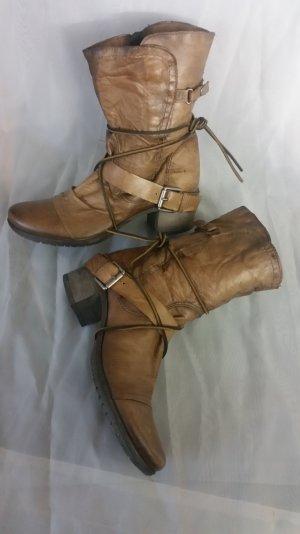 ♡ MJUS Stiefeletten-Biker Boots- cognac farbenes weiches Leder. TOP-ZUSTAND♡