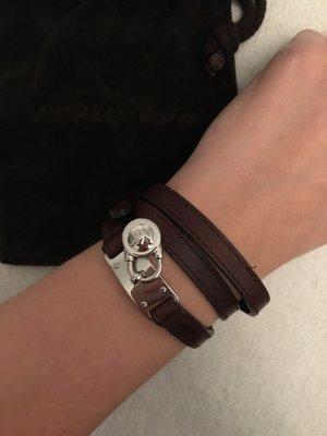 Michael Kors Leather Bracelet black brown-silver-colored