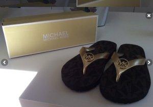 MK Michael Kors 39 Flipflops Schuhe Sommer Gold