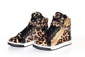 MK Michael Kors Turnschuhe High Sneaker Glam Leder Braun Schwarz Gold 35