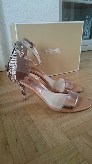 MK Sandaletten Kristen Mid Stilettos Rosegold Reptilienoptik