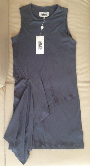 * MM6 * NEU ! Shirtkleid Mini asymetrisch Baumwolle hell blau grau Gr M ( 38)