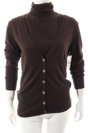 MNG Basics Twin set in maglia marrone scuro stile semplice