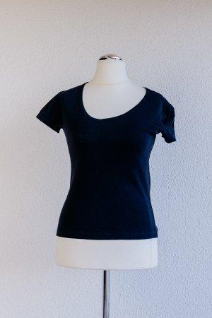 Mango Basics V-Neck Shirt black cotton