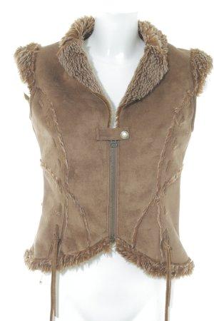 MNG Casual Sportswear Vest van imitatiebont cognac casual uitstraling