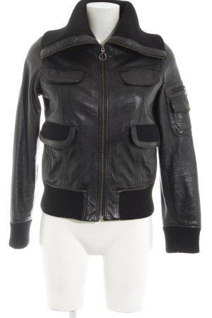 MNG Casual Sportswear Lederjacke schwarz Casual-Look